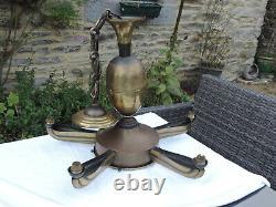 Lustre Art Déco Petitot Sabino Ezan Vintage Moderniste Chandelier Ceiling Lamp