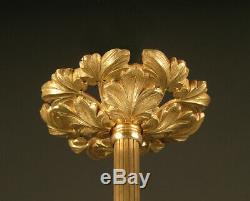 Lustre Belle Époque En Bronze, Laiton Et Verre Moulé