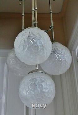 Lustre Lampe 4 BOULES verre pressé HETTIER & VINCENT ART DÉCO Era MULLER DEGUE