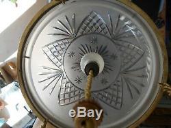 Lustre Vasque Obus 1930 Verre Taille Et Monture En Bronze Et Laiton 1