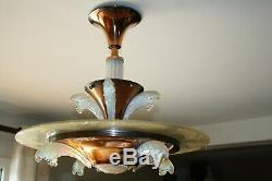Lustre art deco année 30/40 en laiton et verre opalescent