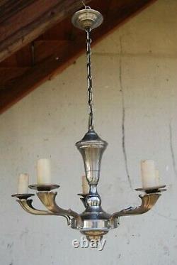 Lustre art déco en laiton nickelé à 5 bras de lumière