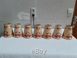 Lustre et paire d'appliques des années 1960 / 1970 en laiton et verre 5 bras