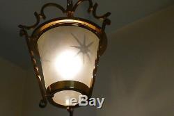 Lustre lanterne art deco en laiton années 40