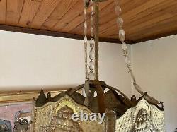 Lustre pendeloques sucre d'orge laiton doré Art Nouveau Déco no pampille Guimard
