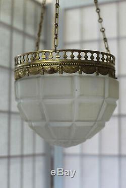 Lustre plafonnier Art déco en laiton doré vasque en verre