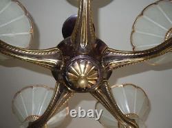 Lustre plafonnier style petitot ezan cinq feux de lumières d'époque Art Déco