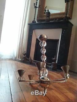 Lustre suspension Moderniste Adnet Cristal Baccarat et laiton Chromé vers 1930