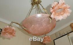Lustre vasque en pate de verre décor papillon 3 tulipe monture bronze laiton
