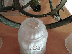 Lustres pâte de verre et laiton argenté. Art Déco C 1930 Dlg muller Noverdy