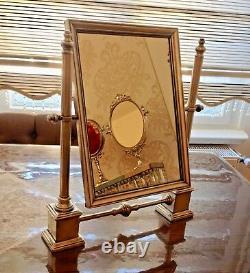 Luxe Miroir à Colonne Antique Plaqué Argent Laiton de Maquillage Inclinable