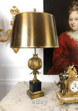 Maison Charles Lampe Grenade En Bronze Doré Des Années 70 Abat Jour Laiton