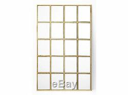 Miroir fenêtre atelier art déco MADDIE effet laiton- 60 x 90 cm Doré