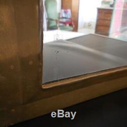 Miroir verre armature cuivre laiton art-déco art nouveau 1920 fait main France