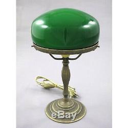 Nostalgique Lampe Champignon de Banquiers en Laiton Vert Écran Bureau