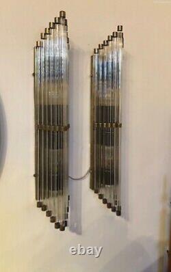 Pair Ancien Old Art Deco Laiton & Glass Rod Lumiere Appliques murale Lampe