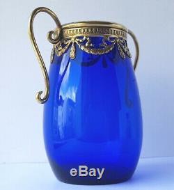 Paire 2 Empire Vases Verre en Laiton Bleu de Cobalt Um 1900 AL1494