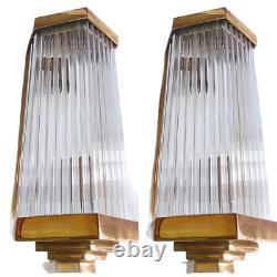 Paire Ancien Art Deco Skyscraper Laiton Glass Rod Lumiere Appliques murale Lampe