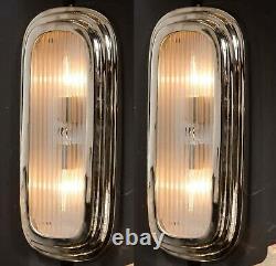 Paire Ancien Old Art Deco Nickel Laiton Glass Rod Lumiere Appliques murale Lampe