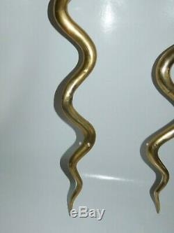 Paire Appliques Serpent Cobra en Laiton de Style Art Deco circa 1970 Sconces