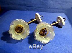 Paire D'appliques Art Deco Porcelaine Laiton Tulipes Pte De Verre Forme Roses