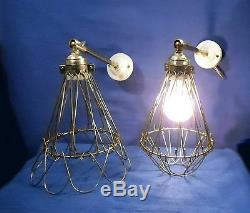 Paire D'appliques Pendulaires Articulées Lampe Cage Gardes Côtes Vintage