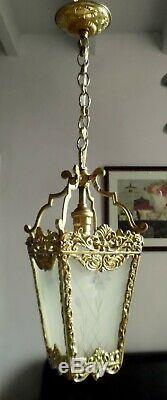 Paire De Lanternes Lustres Anciens Bronze Dore Laiton Et Verres Graves