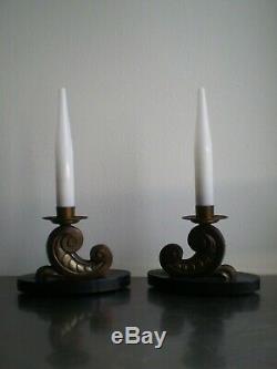 Paire Lampe Ancien Art Deco Marbre Laiton Opaline Luminaire Decoratif 1930