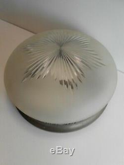 Paire Plafonnier Art Deco Vasques Verre Depoli / Support Laiton / Ceiling Light