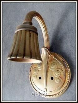 Paire appliques ART DECO 1925 bronze & laiton attr. Paul Follot