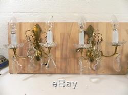 Paire d appliques anciennes bronze laiton doré pampille cristal baccarat artdeco