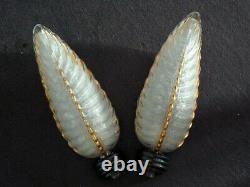Paire d'appliques plumes art déco EZAN France années 30/40