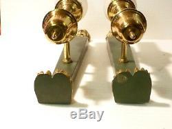 Paire dappliques aux Cariatides en bronze / laiton et tôle patine vert ref 733