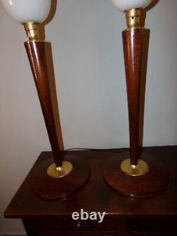 Paire de 2 Belles lampes art déco MAZDA ou autre ACAJOU ET LAITON bois massif en
