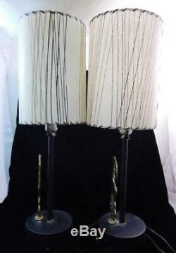Paire de Art Déco Laiton Leaping RAM Gazelle Table Lampes avec Nuances Très Bon