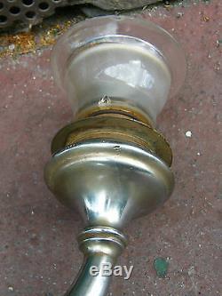 Paire de Lampes à Gaz Bec à Gaz Laiton Nickelé Gare Tulipes Breveté SGDG Ancien