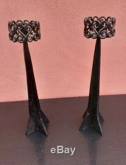 Paire de bougeoirs chandeliers fer forgé Art dèco