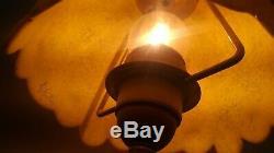 Paire de lampe vintage Signée G Kaelle pate de verre et pied laiton