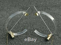 Paire de lampes design 80 laiton methacrylate Arc lamp Italy