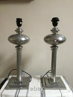 Paire de rare lampes de table signée et cachet en étain Pedraza Segovia