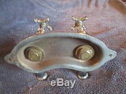 Paire de robinets vintage-old brass bathroom basin taps original patine chrome