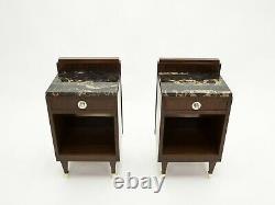 Paire de tables de chevet Art deco palissandre laiton marbre vers 1940