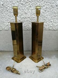 Paire lampes design 70 80 laiton style Rega lamp brass