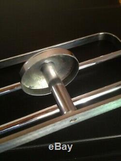 Patère porte manteau laiton/bronze chromé d'époque Art Déco 1930-40 moderniste