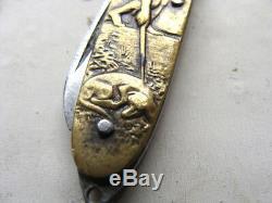 Petit Couteau Pliant Humoristique Double Face 1900 1930 Laiton Ou Bronze