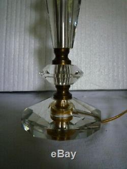 Pied De Lampe En Cristal Et Laiton Art Deco Baccarat