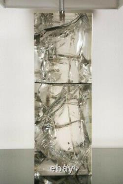 Pied De Lampe Resine Fractale avec abat-jour et douille laiton 1980