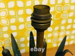 Pied De Lampe Vintage, Roseau, Metal & Laiton, Style Bagues Charles