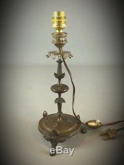Pied de lampe tripode en bronze et laiton art deco vers 1930 décors symétriques
