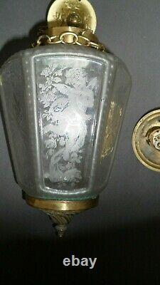 Plafonnier Lanterne Suspension Art Deco 1920 A Decor Danges Sur Les Verrerie